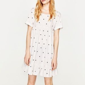 Zara Embroidered Polka Dot White Dress